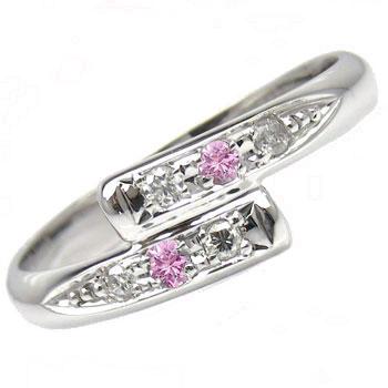 【送料無料】ホワイトゴールドk10リング 指輪 ピンキーリング ダイヤモンド リング ダイヤモンド 0.05ct ピンクサファイア ダイヤ 10金 ストレート 贈り物 誕生日プレゼント ギフト ファッション