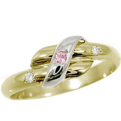 ピンキーリング ピンクサファイア ダイヤモンドリング プラチナイエローゴールドk18 18金 ダイヤ 9月誕生石 ストレート 2.3 指輪 宝石 送料無料