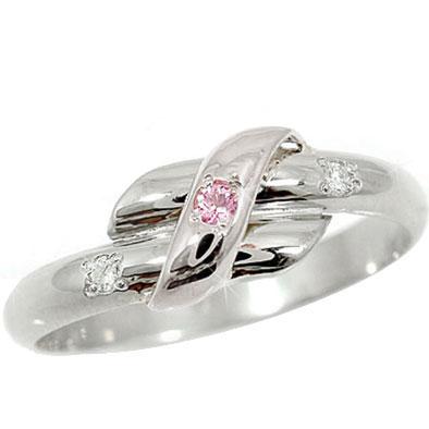 ピンキーリング ピンクサファイア ダイヤモンド ホワイトゴールドk18 指輪 18金 ダイヤ 9月誕生石 ストレート 2.3 宝石 送料無料
