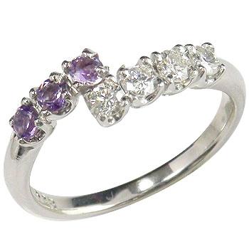 【送料無料】アメジスト ダイヤモンド プラチナ リング 指輪 2月誕生石 ダイヤ ストレート 贈り物 誕生日プレゼント ギフト ファッション 妻 嫁 奥さん 女性 彼女 娘 母 祖母 パートナー