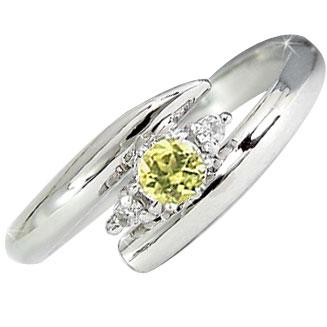 ピンキーリング サファイア イエローカラー ダイヤモンドリング 指輪 ホワイトゴールドk18 ダイヤ 18金 9月誕生石 ストレート 2.3 送料無料