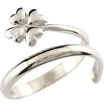ピンキーリング クローバー プラチナ ダイヤモンドリング 指輪 四葉 ダイヤ 4月誕生石 2.3 送料無料