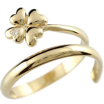 ピンキーリング クローバー ダイヤモンドリング 指輪 四葉 イエローゴールドk18 18金 ダイヤ 4月誕生石 2.3 送料無料
