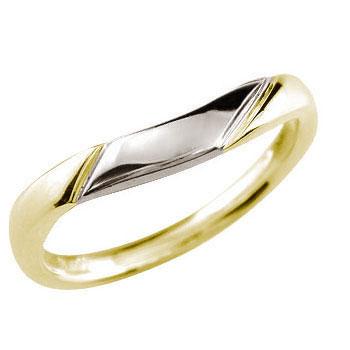 イエローゴールドk18 リング 指輪 プラチナ コンビ 地金リング 宝石なし 18金 ストレート 贈り物 誕生日プレゼント ギフト ファッション 妻 嫁 奥さん 女性 彼女 娘 母 祖母 パートナー 送料無料