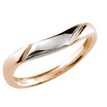 ピンクゴールドk18 リング 指輪 プラチナ コンビ 地金リング 宝石なし 18金 ストレート 贈り物 誕生日プレゼント ギフト ファッション