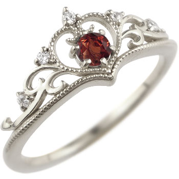 ティアラ リング 指輪ダイヤモンド ガーネット ミル打ち 1月誕生石 ホワイトゴールドk18 18金 ダイヤ ストレート 贈り物 誕生日プレゼント ギフト ファッション