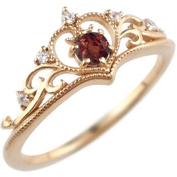 ティアラ リング 指輪ダイヤモンド ガーネット ミル打ち 1月誕生石 ピンクゴールドk18 18金 ダイヤ ストレート 贈り物 誕生日プレゼント ギフト ファッション