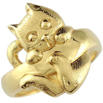 猫 リング 指輪 イエローゴールドk18 地金リング 宝石なし 18金 ストレート 贈り物 誕生日プレゼント ギフト ファッション