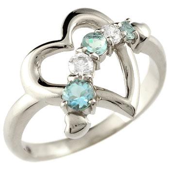 オープンハート プラチナ リング ブルートパーズ ダイヤモンド 指輪 ダイヤ 11月誕生石 贈り物 誕生日プレゼント ギフト ファッション 妻 嫁 奥さん 女性 彼女 娘 母 祖母 パートナー 送料無料