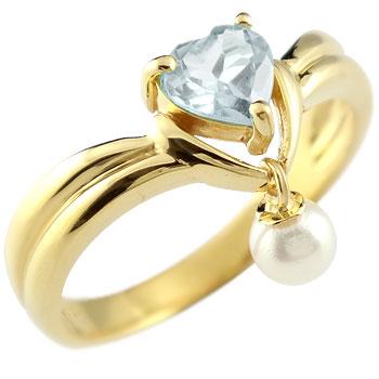 ハート リング アクアマリン パール 指輪 イエローゴールドk18 18金 3月誕生石 贈り物 誕生日プレゼント ギフト ファッション 妻 嫁 奥さん 女性 彼女 娘 母 祖母 パートナー 送料無料