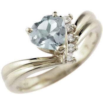 ハート リング アクアマリン ダイヤモンド 指輪 ホワイトゴールドk18 18金 ダイヤ 3月誕生石 贈り物 誕生日プレゼント ギフト ファッション 妻 嫁 奥さん 女性 彼女 娘 母 祖母 パートナー 送料無料