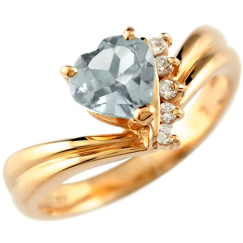 ハート リング アクアマリン ダイヤモンド 指輪 ピンクゴールドk18 18金 ダイヤ 3月誕生石 贈り物 誕生日プレゼント ギフト ファッション 妻 嫁 奥さん 女性 彼女 娘 母 祖母 パートナー 送料無料