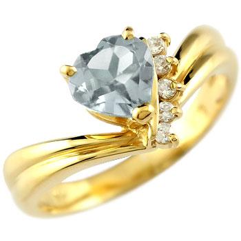 ハート リング アクアマリン ダイヤモンド 指輪 イエローゴールドk18 18金 ダイヤ 3月誕生石 贈り物 誕生日プレゼント ギフト ファッション 妻 嫁 奥さん 女性 彼女 娘 母 祖母 パートナー 送料無料