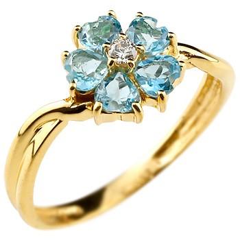 ブルートパーズ フラワーリング ダイヤモンド 指輪 花 イエローゴールドk18 ダイヤ レディース 人気 18金 11月誕生石 ストレート 贈り物 誕生日プレゼント ギフト ファッション お返し