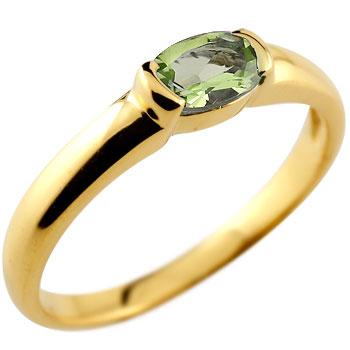 【送料無料】ペリドット リング 指輪 ピンキーリング レディース イエローゴールドk18 8月誕生石 18金 ストレート 贈り物 誕生日プレゼント ギフト ファッション お返し