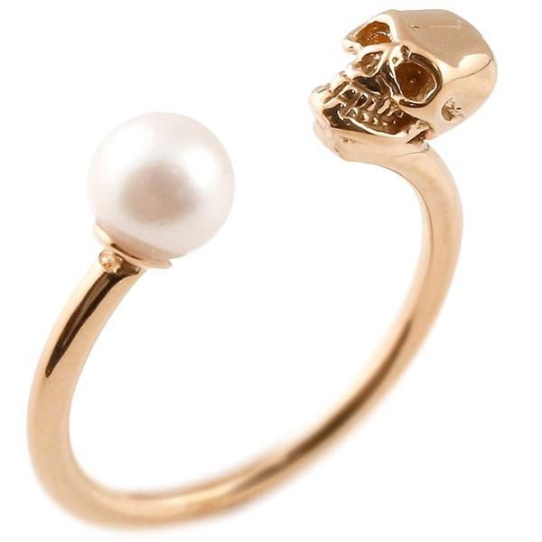 メンズ ドクロ パール 指輪 ピンキーリング 真珠 ピンクゴールドk10 髑髏 スカル 男性用 10金 ファッション