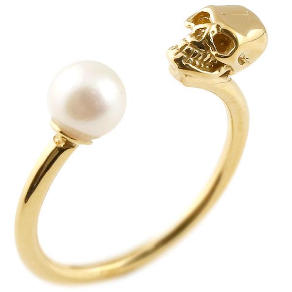 メンズ ドクロ パール 指輪 ピンキーリング 真珠 イエローゴールドk18 髑髏 スカル 男性用 18金 ファッション