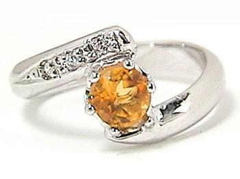 ピンキーリング シトリン 指輪 プラチナリング ダイヤモンド ダイヤ 11月誕生石 ストレート 2.3 送料無料