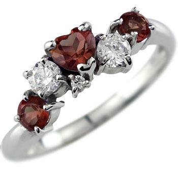 【送料無料】ピンキーリング ガーネットリングハートリングダイヤモンド ホワイトゴールドk18指輪 18金 ダイヤ 1月誕生石 宝石 ファッション