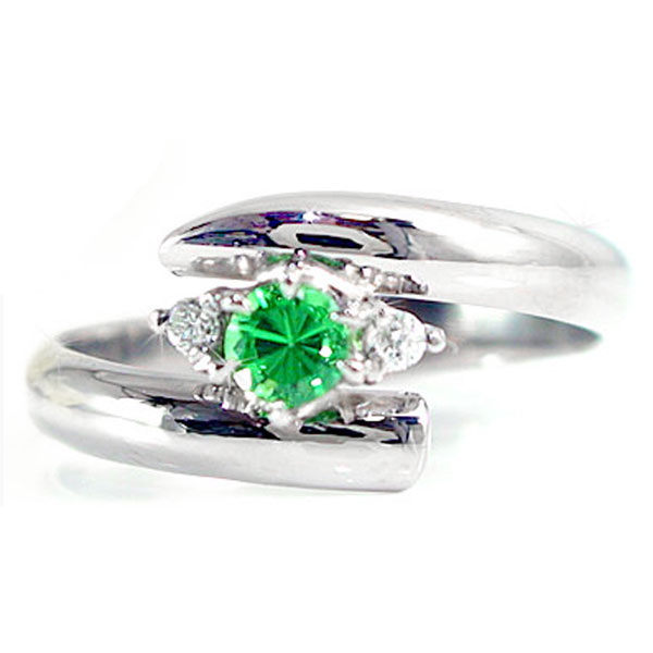 ピンキーリング グリーンガーネットリング ダイヤモンド プラチナリング 指輪 1月の誕生石 ダイヤ ストレート 宝石 送料無料