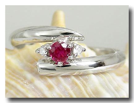ピンキーリング ルビーリング ダイヤモンド 指輪 ホワイトゴールドk18 7月誕生石 18金 ダイヤ ストレート 送料無料
