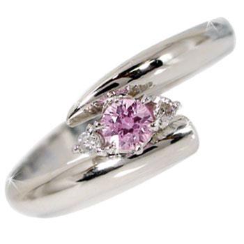 ピンキーリング ピンクサファイア ダイヤモンド リング ホワイトゴールドk10リング 指輪 ダイヤ k10 10金 ストレート 2.3 宝石 送料無料