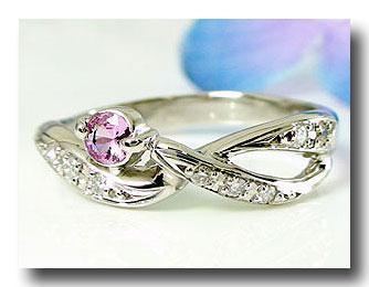 【送料無料】ピンキーリング ピンクサファイア 指輪 ホワイトゴールドk10リング ダイヤモンド 0.08ct ダイヤ 10金 ストレート 贈り物 誕生日プレゼント ギフト ファッション 妻 嫁 奥さん 女性 彼女 娘 母 祖母 パートナー
