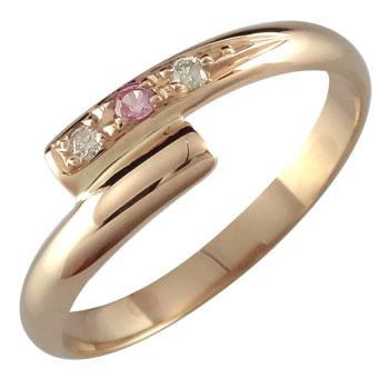 ピンキーリング ピンクサファイア ダイヤモンドリング 指輪 ピンクゴールドk18 9月誕生石 18金 ダイヤ ストレート 2.3 送料無料