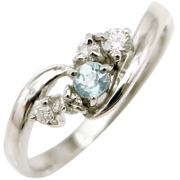【送料無料】ピンキーリング ダイヤモンドリング アクアマリン ホワイトゴールドk18 指輪 18金 ダイヤ 3月誕生石 ストレート 贈り物 誕生日プレゼント ギフト ファッション 妻 嫁 奥さん 女性 彼女 娘 母 祖母 パートナー