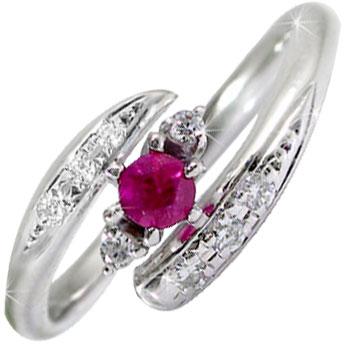 【送料無料】ルビーリング ダイヤモンド プラチナ 指輪 ピンキーリング 7月誕生石 ダイヤ ストレート 贈り物 誕生日プレゼント ギフト ファッション 妻 嫁 奥さん 女性 彼女 娘 母 祖母 パートナー
