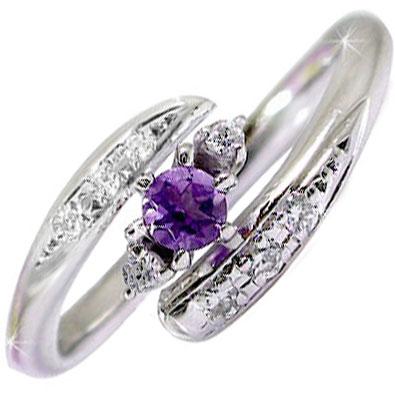 【送料無料】ピンキーリング アメジストリング ダイヤモンド プラチナリング 指輪2月誕生石 ダイヤ ストレート 贈り物 誕生日プレゼント ギフト ファッション 妻 嫁 奥さん 女性 彼女 娘 母 祖母 パートナー