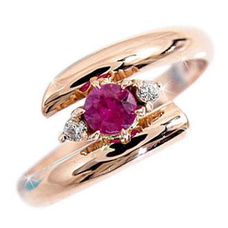 ピンキーリング ルビー リング ダイヤモンド ピンクゴールドk18 7月誕生石 18金 ダイヤ ストレート 2.3 指輪 宝石 送料無料