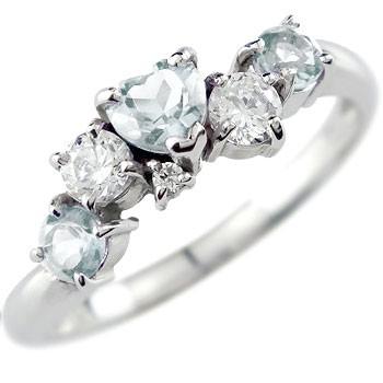 【送料無料】アクアマリンリングハート 指輪 プラチナリング ダイヤモンド ダイヤ 3月誕生石 贈り物 誕生日プレゼント ギフト ファッション 妻 嫁 奥さん 女性 彼女 娘 母 祖母 パートナー