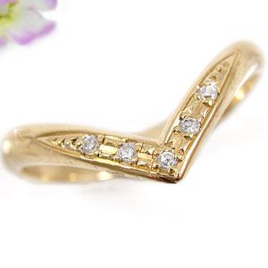 ピンキーリング ダイヤモンドリング ダイヤモンド イエローゴールドk18 指輪 18金 ダイヤ 4月誕生石 ストレート 2.3 送料無料