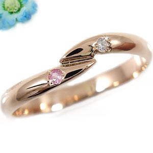 ピンキーリングダイヤモンド ピンクサファイア ピンクゴールドk18 指輪 18金 ダイヤ 9月誕生石 ストレート 贈り物 誕生日プレゼント ギフト ファッション