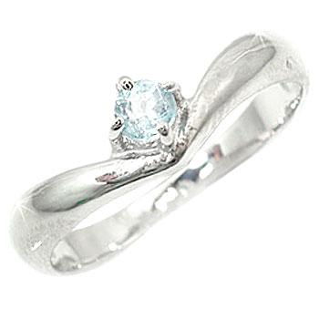 ピンキーリング プラチナリング 指輪 アクアマリンリング 3月誕生石 ストレート 宝石 ファッション