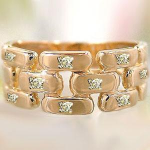 ピンキーリング ダイヤモンドリング ピンクゴールドk18 ダイヤモンド 指輪 k18 結婚指輪 18金 ダイヤ 4月誕生石 ストレート ファッション