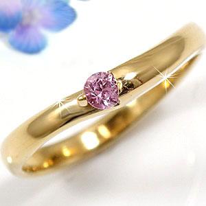 ピンキーリング ピンクサファイア イエローゴールドk10 指輪 k10 10金 ストレート 贈り物 誕生日プレゼント ギフト ファッション