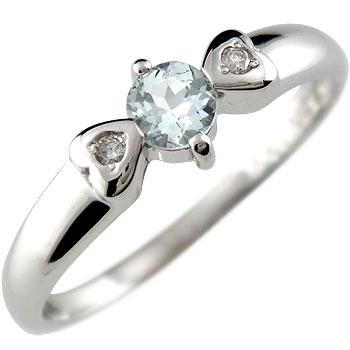 ピンキーリング アクアマリン ダイヤモンド ホワイトゴールドk18 指輪 ハート 3月誕生石 18金 ダイヤ 贈り物 誕生日プレゼント ギフト ファッション