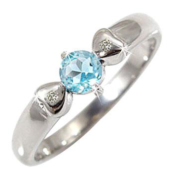 トパーズ ピンキーリング ブルートパーズ ダイヤモンド ホワイトゴールドk18 指輪 ハート 18金 ダイヤ 11月誕生石 贈り物 誕生日プレゼント ギフト ファッション