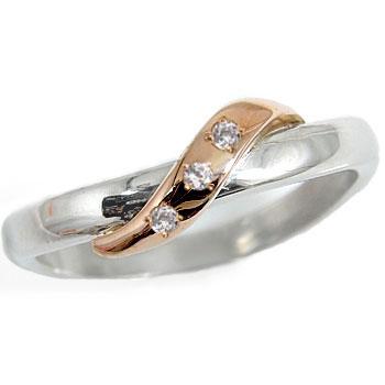ピンキーリング ピンキーリングダイヤモンドホワイトゴールドk18 ピンクゴールドk18 指輪 18金 ダイヤ 4月誕生石 ストレート ファッション