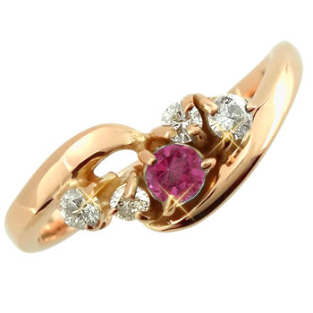 ピンキーリング ルビーダイヤモンドリング ピンクゴールドk18 指輪 18金 ダイヤ 7月誕生石 ストレート 宝石 ファッション