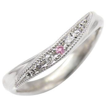 ピンキーリング ピンクサファイア ダイヤモンドリング 指輪 ホワイトゴールドk18 ダイヤ 18金 9月誕生石 ストレート 贈り物 誕生日プレゼント ギフト ファッション 妻 嫁 奥さん 女性 彼女 娘 母 祖母 パートナー 送料無料