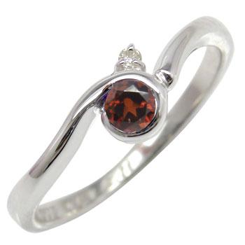 ガーネットリング ダイヤモンド プラチナピンキーリング 指輪 ダイヤ 1月誕生石 ストレート 贈り物 誕生日プレゼント ギフト ファッション