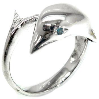 【送料無料】ピンキーリングブルーダイヤモンド ホワイトゴールドk18イルカ指輪 18金 ダイヤ 4月誕生石 ストレート 贈り物 誕生日プレゼント ギフト ファッション 18k 妻 嫁 奥さん 女性 彼女 娘 母 祖母 パートナー