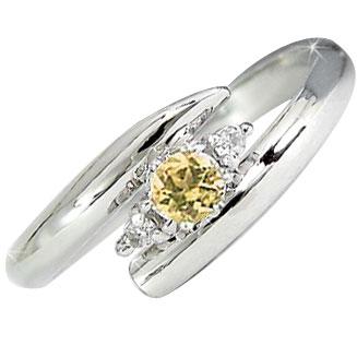 ピンキーリング サファイア オレンジカラー ダイヤモンドリング 指輪 ホワイトゴールドk18 ダイヤ 18金 9月誕生石 ストレート 2.3 送料無料