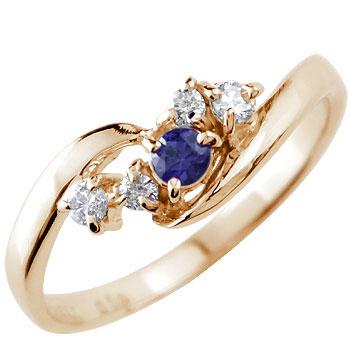 サファイア ダイヤモンドリング 指輪 ピンキーリング 9月誕生石 ピンクゴールドk18 18金 ダイヤ ストレート 贈り物 誕生日プレゼント ギフト ファッション 妻 嫁 奥さん 女性 彼女 娘 母 祖母 パートナー 送料無料
