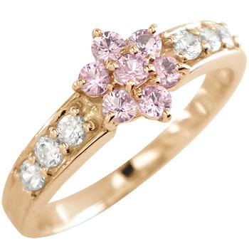 ピンクサファイア ダイヤモンド 取り巻きリング 指輪 ピンクゴールドk18 フラワー 18金 ダイヤ 9月誕生石 ストレート 贈り物 誕生日プレゼント ギフト ファッション 妻 嫁 奥さん 女性 彼女 娘 母 祖母 パートナー 送料無料