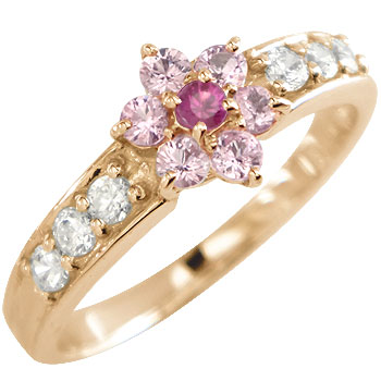 ピンクサファイア ルビー ダイヤモンドリング 指輪 ピンクゴールドk18 フラワー 取り巻き 18金 ダイヤ 7月誕生石 ストレート 贈り物 誕生日プレゼント ギフト ファッション 妻 嫁 奥さん 女性 彼女 娘 母 祖母 パートナー 送料無料