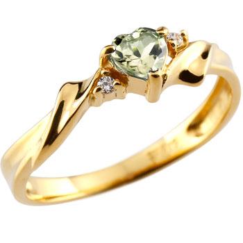 ハート リング ペリドット ダイヤモンド 指輪 イエローゴールドk18 18金 ダイヤ 8月誕生石 贈り物 誕生日プレゼント ギフト ファッション 妻 嫁 奥さん 女性 彼女 娘 母 祖母 パートナー 送料無料